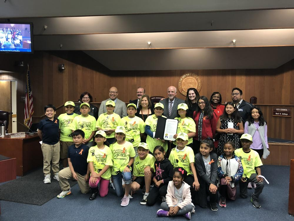 Mrs. Carlino s fifth grade class at Martin Elementary School present proclamation to city council designating November 14 as Ruby Bridges Day in South San Francisco.